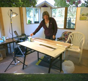 Heather Cline at work in the Ninfa Studio