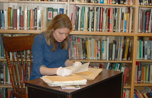 Caetani artist in residence Rebecca Key conducting research on the Caetani family at the Vernon Museum.
