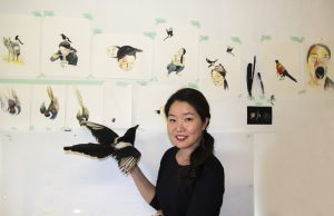 Jihee Min in her studio at the Allan Brooks Nature Centre