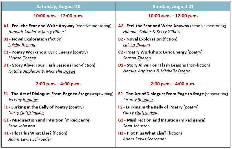 Spoke Writer's Festival Schedule